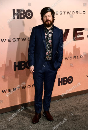 """John Gallagher Jr., a cast member in the HBO series """"Westworld,"""" poses at the Season 3 premiere of the show at the TCL Chinese Theatre, in Los Angeles"""