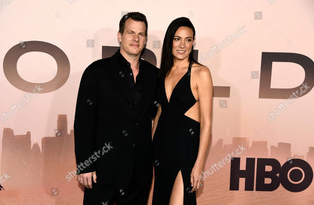 """Jonathan Nolan, Lisa Joy. Jonathan Nolan, the co-creator/executive producer/director of the HBO series """"Westworld,"""" poses with his wife Lisa Joy at the Season 3 premiere of the show at the TCL Chinese Theatre, in Los Angeles"""