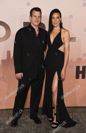 """Stock Photo of Jonathan Nolan, Lisa Joy. Jonathan Nolan, the co-creator/executive producer/director of the HBO series """"Westworld,"""" poses with his wife Lisa Joy at the Season 3 premiere of the show at the TCL Chinese Theatre, in Los Angeles"""