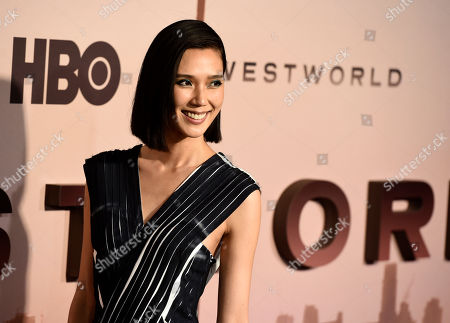"Tao Okamoto, a cast member in the second season of the HBO series ""Westworld,"" poses at the Season 3 premiere of the show at the TCL Chinese Theatre, in Los Angeles"