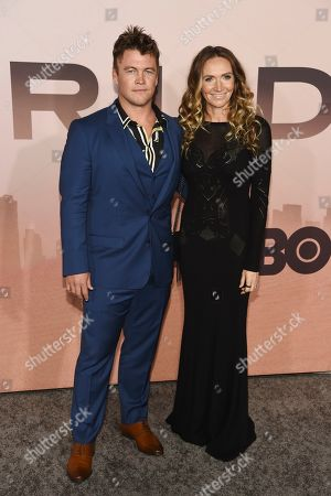 """Luke Hemsworth, Samantha Hemsworth. Luke Hemsworth, a cast member in the HBO series """"Westworld,"""" poses with his wife, Samantha, at the Season 3 premiere of the show at the TCL Chinese Theatre, in Los Angeles"""