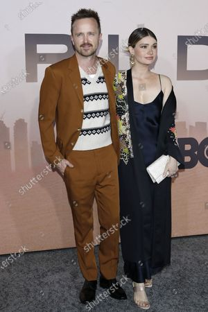 Aaron Paul (L) and his wife Lauren Parsekian (R) arrive for the premiere of HBO series Westworld season three the TCL Chinese Theatre in Hollywood, Los Angeles, California, USA 05 March 2020. The series will air in the USA on 15 March 2020.