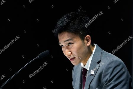 Stock Picture of Japanese badminton player Kento Momota attends a press conference, in Tokyo. Badminton men's singles world champion and world number one Momota was injured at a traffic accident In January this year in Malaysia