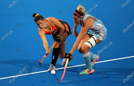 Agustina Albertario (R) of Argentina in action against Sophie Taylor (L) of Australia during the Women's FIH Pro League field hockey match between Australia and Argentina at the Perth Hockey Stadium in Perth, Australia, 06 March 2020.