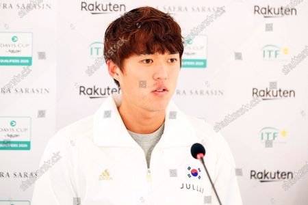 Nam Ji-sung of South Korea speaks during a press conference following his match against Gianluca Mager of Italy during the Davis Cup qualifier between Italy and South Korea in Cagliari, Italy, 06 March 2020.