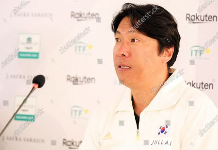 Stock Image of South Korean Davis Cup team captain Chung Hee-sung speaks during a press conference following the singles match between Gianluca Mager of Italy and Nam Ji-sung of South Korea during the Davis Cup qualifier between Italy and South Korea in Cagliari, Italy, 06 March 2020.