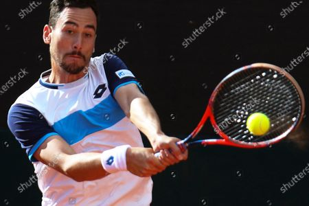 Gianluca Mager of Italy in action against Nam Ji-sung of South Korea during the Davis Cup qualifier between Italy and South Korea in Cagliari, Italy, 06 March 2020.