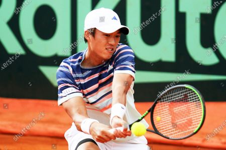 Nam Ji-sung of South Korea in action against Gianluca Mager of Italy during the Davis Cup qualifier between Italy and South Korea in Cagliari, Italy, 06 March 2020.