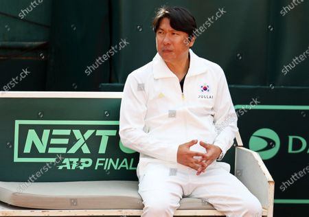 South Korean Davis Cup team captain Chung Hee-sung attends the singles match between Gianluca Mager of Italy and Nam Ji-sung of South Korea during the Davis Cup qualifier between Italy and South Korea in Cagliari, Italy, 06 March 2020.