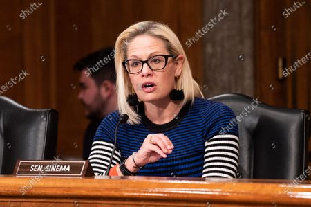 U.S. Senator Kyrsten Sinema (D-AZ) speaks at a hearing of the Senate Homeland Security and Governmental Affairs Committee in Washington, DC.