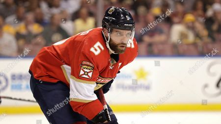 Florida Panthers defenseman Aaron Ekblad is shown during the first period of an NHL hockey game against the Boston Bruins, in Sunrise, Fla