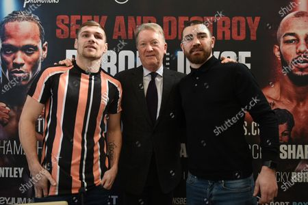 Stock Image of Chris Jenkins (L), Frank Warren and Johnny Garton during a Press Conference at Fredericks Restaurant on 6th March 2020