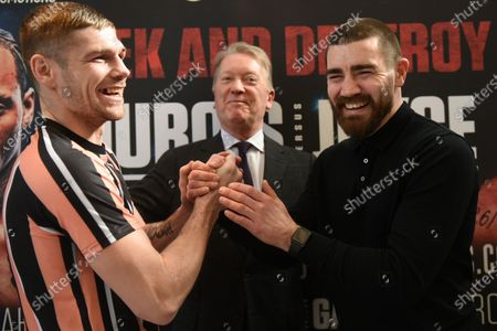 Chris Jenkins (L), Frank Warren and Johnny Garton during a Press Conference at Fredericks Restaurant on 6th March 2020