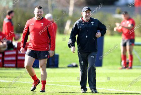 Rob Evans and Wayne Pivac during training.