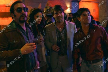 Stock Photo of Andres Almeida as Cochiloco, Viviana Serna as Guadalupe, Gorka Lasaosa as Hector and Palma Alejandro Edda as Joaquín 'El Chapo' Guzman
