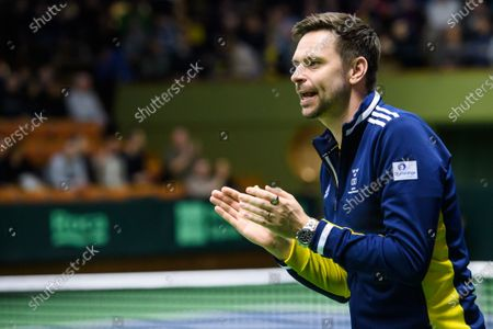 Sweden's captain Robin Soderling during the Davis Cup qualifiers tie between Sweden and Chile at the Royal Tennis Hall in Stockholm, Sweden, 06 March 2020.