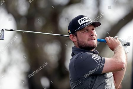 Tyrell Hatton, of England, watches his shot from the seventh tee during the second round of the Arnold Palmer Invitational golf tournament, in Orlando, Fla
