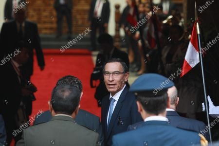 President of Peru, Martin Vizcarra (C), attends the wake of the Peruvian diplomat Javier Perez de Cuellar, the only Latin American who held the position of Secretary-General of the United Nations (1982-1991), in Lima, Peru, 06 March 2020. Considered a tireless, effective, patient and cautious negotiator, during his ten years at the head of the UN, Perez de Cuellar showed great interest in third world countries and acted as peacemaker in various international conflicts.