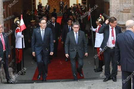 President of Peru, Martin Vizcarra (L), and the foreign minister Gustavo Meza-Cuadra (R), attend the wake of the Peruvian diplomat Javier Perez de Cuellar, the only Latin American who held the position of the General Secretariat of the United Nations (1982-1991), in Lima, Peru, 06 March 2020. Considered a tireless, effective, patient and cautious negotiator, during his ten years at the head of the UN, Perez de Cuellar showed great interest in third world countries and acted as peacemaker in various international conflicts.