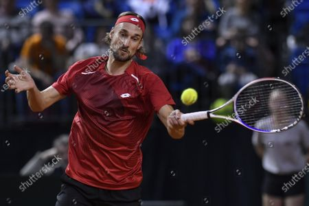 Ruben Bemelmans of Belgium in action during his match against Attila Balazs of Hungary at the Davis Cup qualifiers tie Hungary vs. Belgium in Debrecen, Hungary, 06 March 2020.