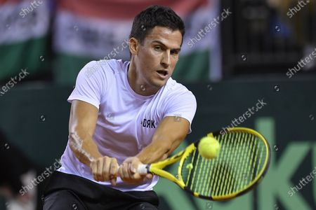 Attila Balazs of Hungary in action during his match against Ruben Bemelmans of Belgium at the Davis Cup qualifiers tie Hungary vs. Belgium in Debrecen, Hungary, 06 March 2020.