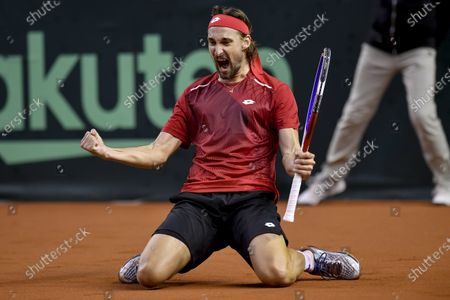 Ruben Bemelmans of Belgium celebrates during his match against Attila Balazs of Hungary at the Davis Cup qualifiers tie Hungary vs. Belgium in Debrecen, Hungary, 06 March 2020.
