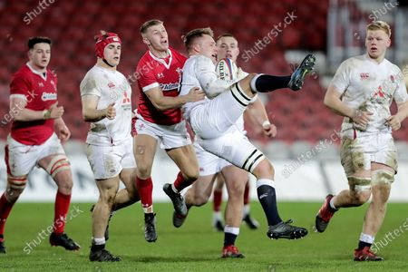England U20 vs Wales U20. England's Jack Clement and Frankie Jones of Wales