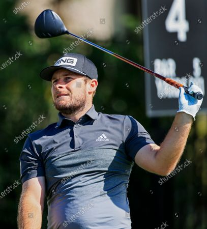 Tyrell Hatton of England watches his tee shot on the fourth hole during the second round of the Arnold Palmer Invitational golf tournament at Bay Hill Club & Lodge in Orlando, Florida, USA, 06 March 2020.