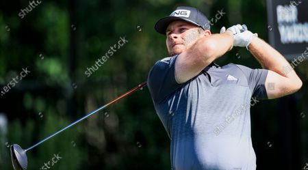 Tyrell Hatton of England hits his tee shot on the fourth hole during the second round of the Arnold Palmer Invitational golf tournament at Bay Hill Club & Lodge in Orlando, Florida, USA, 06 March 2020.