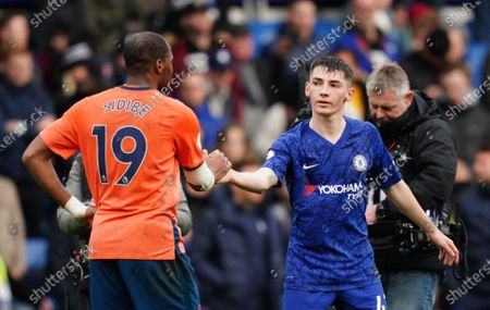 Billy Gilmour of Chelsea  and Djibril Sidibe of Everton shake hands Picture Dave Shopland /Shutterstock