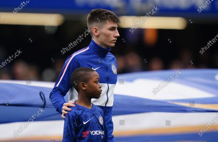 18 year Old Billy Gilmour of Chelsea with mascot  Picture Dave Shopland /Shutterstock