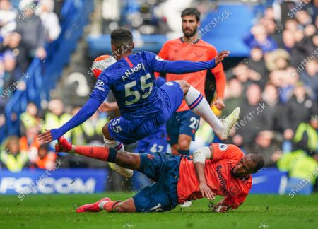 Djibril Sidibe of Everton tackles Faustino Anjorin of Chelsea Picture Dave Shopland /Shutterstock