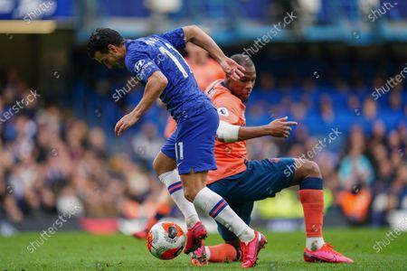 Pedro of Chelsea beats Djibril Sidibe of Everton Picture Dave Shopland /Shutterstock