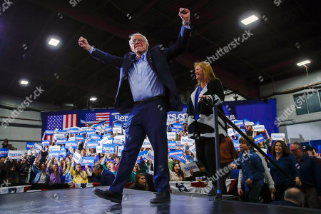 Stock Photo of Bernie Sanders, Jane O'Meara Sanders. Democratic presidential candidate Sen. Bernie Sanders, I-Vt., accompanied by his wife Jane O'Meara Sanders, arrives for a primary night election rally as the crowd cheers in Essex Junction, Vt