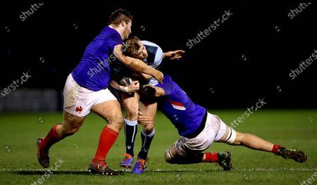 Scotland U20 vs France U20. Scotland's Nathan Chamberlain with Paul Mallez and Joshua Brennan of France
