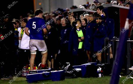 Scotland U20 vs France U20. France's Joshua Brennan is sin binned