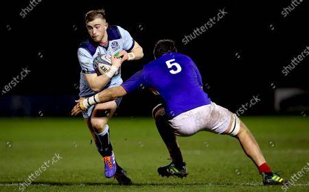 Scotland U20 vs France U20. Scotland's Nathan Chamberlain with Joshua Brennan of France