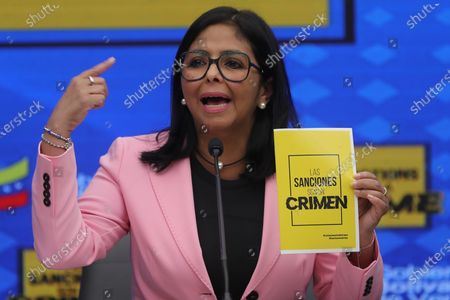Vice President of Venezuela Delcy Rodriguez speaks during a press conference in Caracas, Venezuela, 06 March 2020. Rodriguez talks about the sanctions imposed by United States.