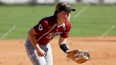 College of Charleston's Ari Kuchta fields against Chattanooga in an NCAA college softball game at the College of Charleston's softball field, in Mt. Pleasant, S.C