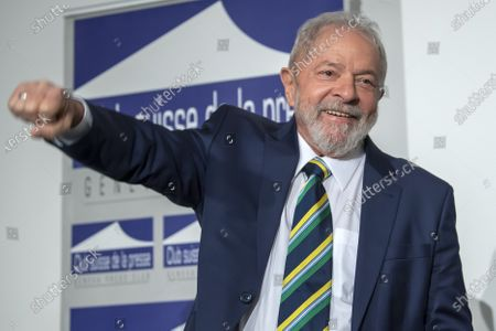 Stock Image of Former Brazilian president Luis Inacio Lula da Silva, speaks about 'Dialogue about inequality with global unions and general public', during a press conference at the Geneva press club, in Geneva, Switzerland, 06 March 2020.
