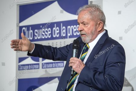 Stock Photo of Former Brazilian president Luis Inacio Lula da Silva, speaks about 'Dialogue about inequality with global unions and general public', during a press conference at the Geneva press club, in Geneva, Switzerland, 06 March 2020.
