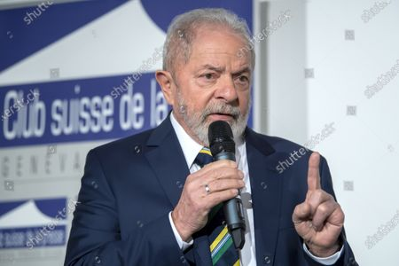 Former Brazilian President Luis Inacio Lula da Silva speaks about 'Dialogue about inequality with global unions and general public', during a press conference, at the Geneva press club, in Geneva, Switzerland, 06 March 2020.