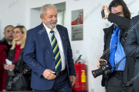 Stock Picture of Former Brazilian president Luis Inacio Lula da Silva (C), arrives to speaks about 'Dialogue about inequality with global unions and general public', during a press conference at the Geneva press club, in Geneva, Switzerland, 06 March 2020.