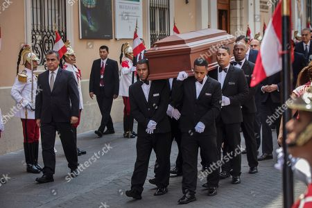 Stock Picture of Pallbearers carry the coffin of Javier Perez de Cuellar to the Foreign Ministry for his wake in Lima, Peru, . Cuellar was a two-term United Nations secretary-general who brokered a historic cease-fire between Iran and Iraq in 1988 and who in later life came out of retirement to help re-establish democracy in his Peruvian homeland