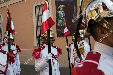Stock Photo of Calvary soldiers stand guard before the start of a wake for Javier Perez de Cuellar in Lima, Peru, . Cuellar was a two-term United Nations secretary-general who brokered a historic cease-fire between Iran and Iraq in 1988 and who in later life came out of retirement to help re-establish democracy in his Peruvian homeland