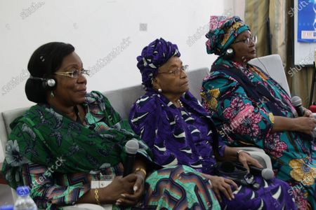 Former Liberian president, Ellen Johnson-Sirleaf (C), Malawian President, Dr. Joyce Banda (R) and former Central African Republic president, Catherine Samba-Panza (L) attend a press conference ahead of official launch of the ' Ellen Johnson Sirleaf Presidential Center for Women and Development', ahead of the International Women's Day on 08 March, in Margibi County, Liberia, 06 March 2020. The Ellen Johnson Sirleaf Presidential Center is an initiative to groom women in leadership for change across the African continent.