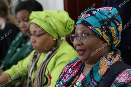 Former Malawian president, Dr. Joyce Banda (R), speaks during a press conference ahead of official launch of the ' Ellen Johnson Sirleaf Presidential Center for Women and Development', ahead of the International Women's Day on 08 March, in Margibi County, Liberia, 06 March 2020. The Ellen Johnson Sirleaf Presidential Center is an initiative to groom women in leadership for change across the African continent.