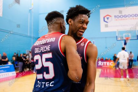 Levi Bradley of Bristol Flyers celebrates at the end of the game with Marcus Delpeche of Bristol Flyers