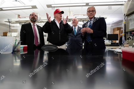 Donald Trump, Robert Redfield, Steve Monroe, Alex Azar. President Donald Trump speaks during a meeting with Health and Human Services Secretary Alex Azar, left, Centers for Disease Control and Prevention Director Robert Redfield, and Associate Director for Laboratory Science and Safety Steve Monroe, about the coronavirus at the Centers for Disease Control and Prevention, in Atlanta