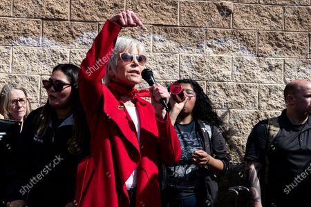 US actress Jane Fonda delivers a speech as she participates in a protest in front of a gas depot following a Fire Drill Friday climate change rally in Wilmington, South of Los Angeles, California, USA, 06 March 2020.